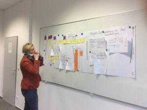 Anne viser sin værdistrømsanalyse på opgave 2