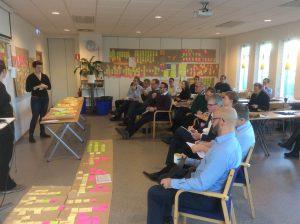 Hele ledelsen samlet og rummet og gulvet fyldt med værdistrømsanalyser.